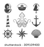 Naval Symbols Collection. Blac...