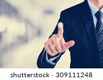businessman hand touching empty ...