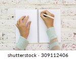 girl writes in notebook   Shutterstock . vector #309112406