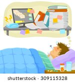 sick man lying in bed and... | Shutterstock .eps vector #309115328