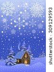 vector christmas night... | Shutterstock .eps vector #309129593