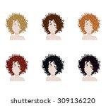 set of female hair style.... | Shutterstock .eps vector #309136220