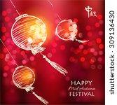hand drawn oriental lanterns.... | Shutterstock .eps vector #309136430