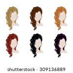 set of female hair style.... | Shutterstock .eps vector #309136889