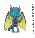vector mascot of a cute dragon... | Shutterstock .eps vector #309138428