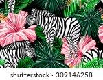 Zebras  Palm Leaves  Tropical...