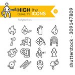 firefighting line icons series | Shutterstock .eps vector #309147809