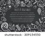 fruits and vegetables frame for ... | Shutterstock .eps vector #309154550