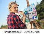 beautiful blonde woman artist... | Shutterstock . vector #309160706