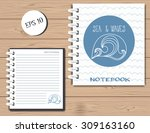 spiral notebook sea and wave... | Shutterstock .eps vector #309163160