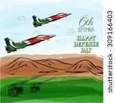 6th of september.pakistan's... | Shutterstock .eps vector #309166403