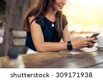 woman typing text message on... | Shutterstock . vector #309171938