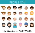 Set Of Cartoon People Head ...