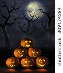frightening halloween pumpkins... | Shutterstock . vector #309174284
