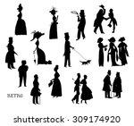 ladies and gentlemen on walk.... | Shutterstock .eps vector #309174920