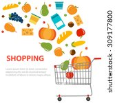 different grocery products are... | Shutterstock .eps vector #309177800