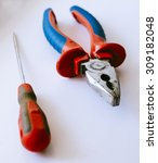 old pliers and screwdriver on... | Shutterstock . vector #309182048