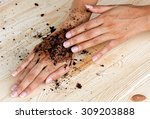 coffee hand scrub with ground...   Shutterstock . vector #309203888