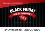 black friday sale. rectangular... | Shutterstock .eps vector #309204008