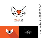 orange geometric fox symbol... | Shutterstock .eps vector #309205868