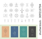 set of vector trendy cards with ... | Shutterstock .eps vector #309213704