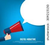 hand holding megaphone | Shutterstock .eps vector #309215150