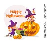 cute cartoon happy halloween... | Shutterstock .eps vector #309220439
