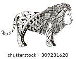 Lion Zentangle Stylized  Vecto...