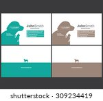 Stock vector animal theme dog cat business card template 309234419