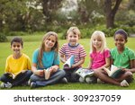 portrait of smiling classmates... | Shutterstock . vector #309237059