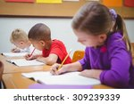busy students working on class... | Shutterstock . vector #309239339