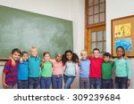 students standing together in a ... | Shutterstock . vector #309239684