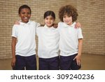 happy pupils looking at the... | Shutterstock . vector #309240236