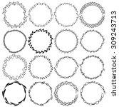a set of sixteen round frames.... | Shutterstock .eps vector #309243713