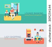 flat style set people sofa... | Shutterstock .eps vector #309254144
