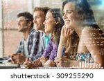 maths equations against smiling ... | Shutterstock . vector #309255290