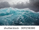 dark clouds and crashing ocean... | Shutterstock . vector #309258380