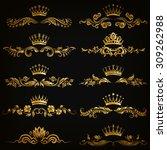 set of filigree damask... | Shutterstock .eps vector #309262988