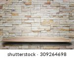 empty top wooden shelves and... | Shutterstock . vector #309264698