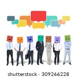 people with boxes on their... | Shutterstock . vector #309266228
