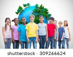happy friends playing in the... | Shutterstock . vector #309266624