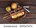 beef  mozzarella and chicken... | Shutterstock . vector #309267674