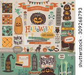 halloween scrapbook set  ... | Shutterstock .eps vector #309268793