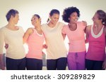 laughing women wearing pink for ... | Shutterstock . vector #309289829