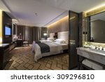 luxury hotel bedroom with nice... | Shutterstock . vector #309296810
