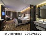 luxury hotel bedroom with nice... | Shutterstock . vector #309296810