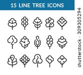 set of graphical line trees and ... | Shutterstock .eps vector #309305294