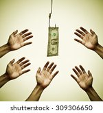 Hands Reaching Out To Get Mone...