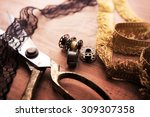 fringe or lace tapes and silk... | Shutterstock . vector #309307358