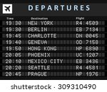 airport departure board with...   Shutterstock .eps vector #309310490